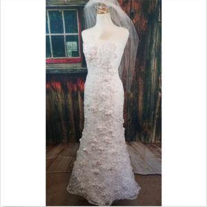 OLEG CASSINI STRAPLESS HIGH LOW WEDDING DRESS